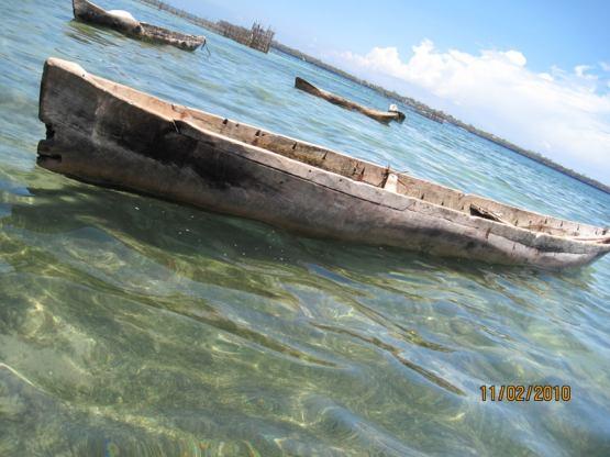 выдолбленная изо  целого ствола лодка
